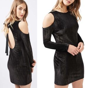 Topshop Metallic Velvet Cold Should Dress